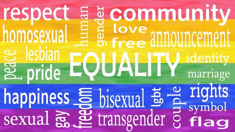 Ejemplo de las letras de la palabra de la igualdad en fondo de los colores de la bandera del lgbt ilustración del vector