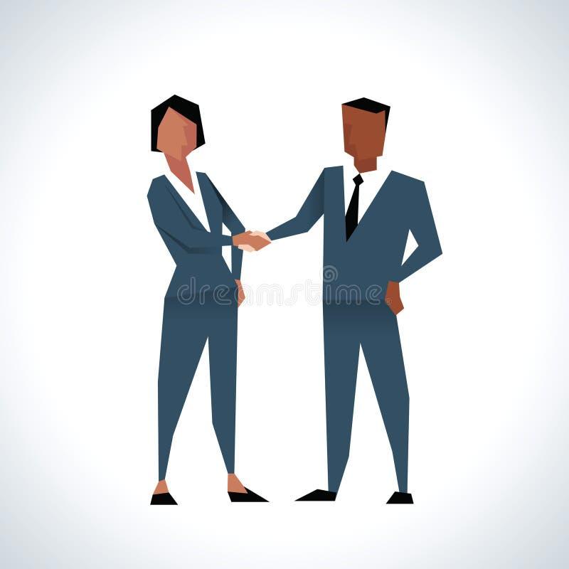 Ejemplo de las manos de And Businesswoman Shaking del hombre de negocios stock de ilustración