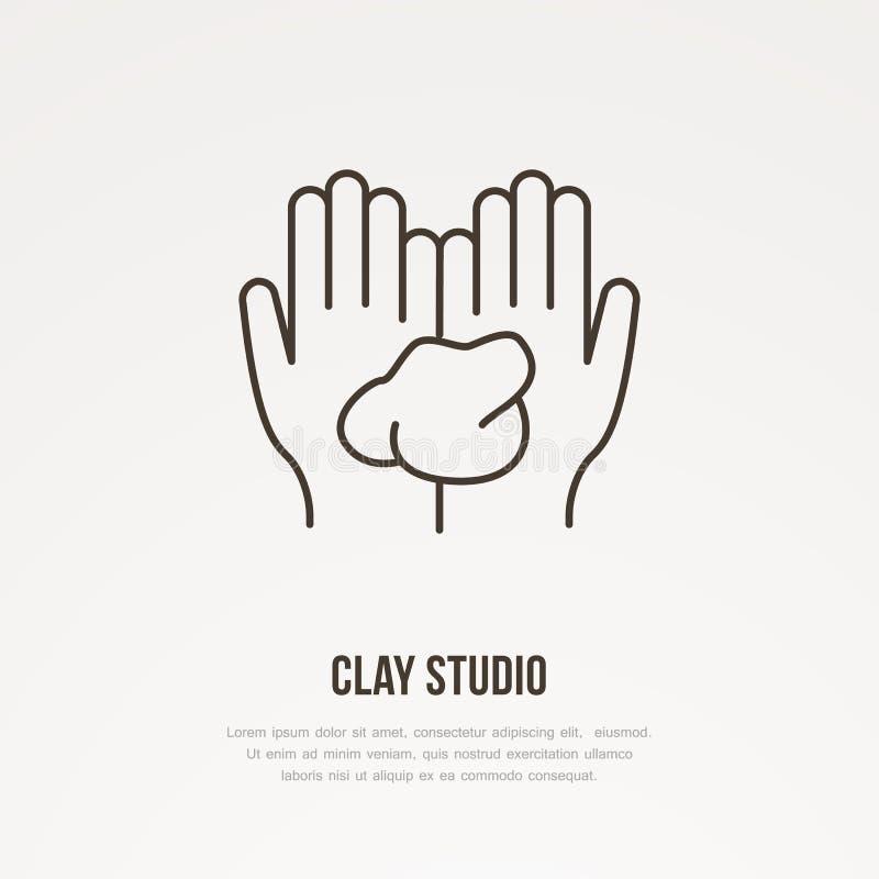 Ejemplo de las manos que sostienen la arcilla El taller de la cerámica, cerámica clasifica la línea icono Muestra del estudio de  ilustración del vector