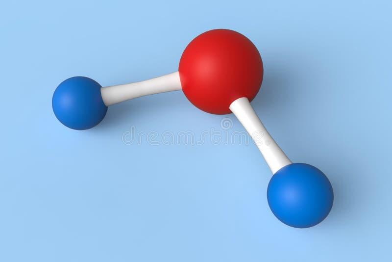 Ejemplo de las moléculas 3d del agua H2O stock de ilustración