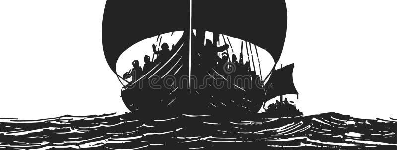 Ejemplo de las naves de vikingo que navegan en el mar libre illustration
