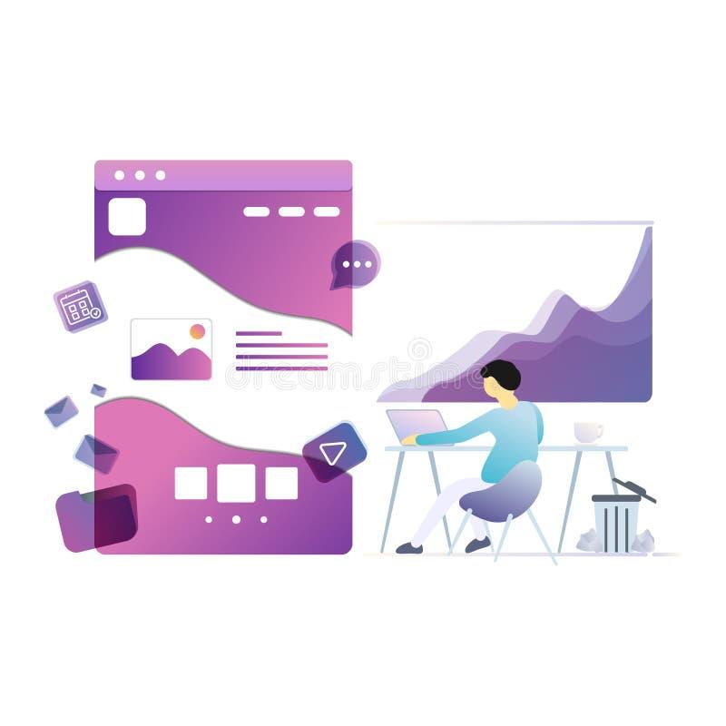 Ejemplo de las plantillas del diseño de la página para el negocio ilustración del vector