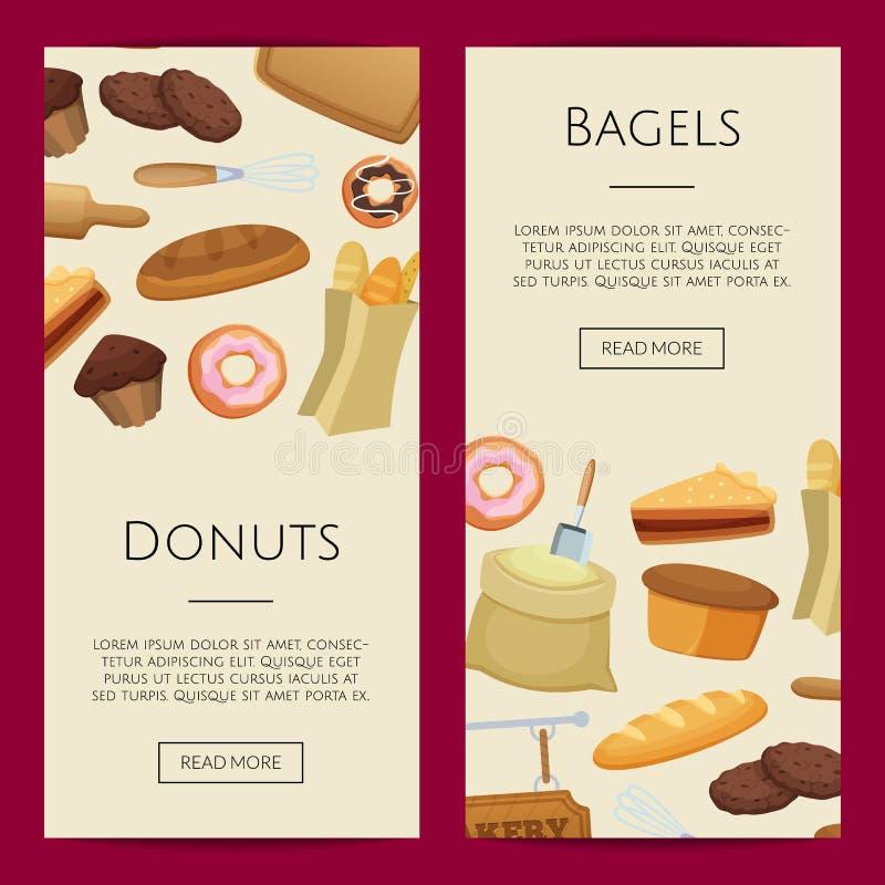 Ejemplo de las plantillas de la bandera de la web de la panadería de la historieta del vector stock de ilustración