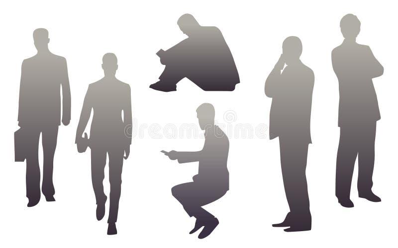 Ejemplo de las siluetas de hombres stock de ilustración