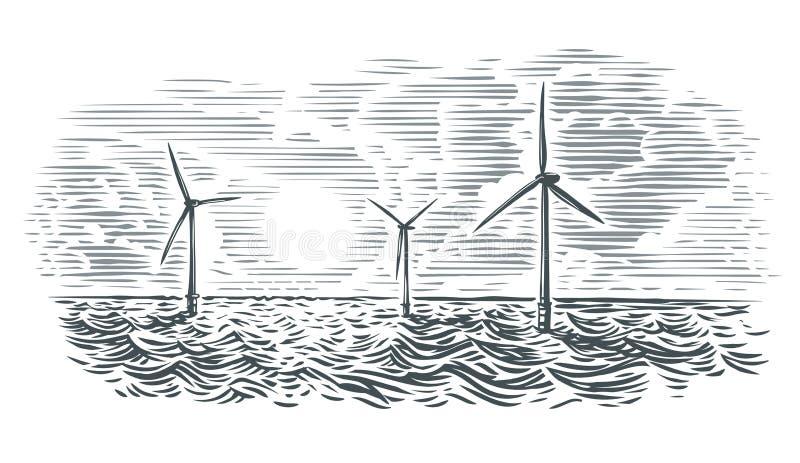 Ejemplo de las turbinas de viento costero Vector, aislado ilustración del vector