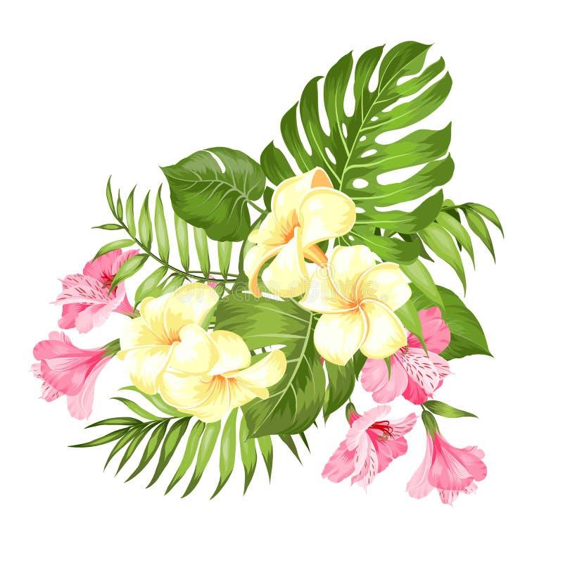 Ejemplo de las vacaciones con la guirnalda floral Guirnalda de la boda con las flores tropicales para la tarjeta de la invitación libre illustration