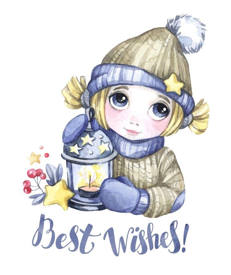 Ejemplo de las vacaciones de invierno Muchacha linda de la acuarela con la lámpara de la Navidad, estrellas Invitación del Año Nu ilustración del vector