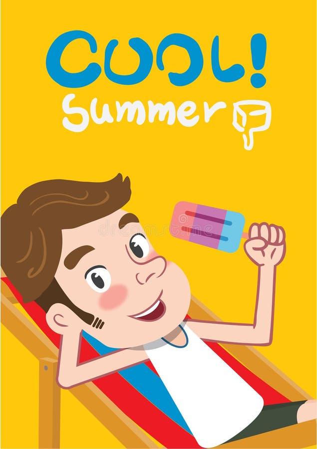 Ejemplo de las vacaciones de verano, hombre plano de la juventud del diseño y concepto del helado stock de ilustración
