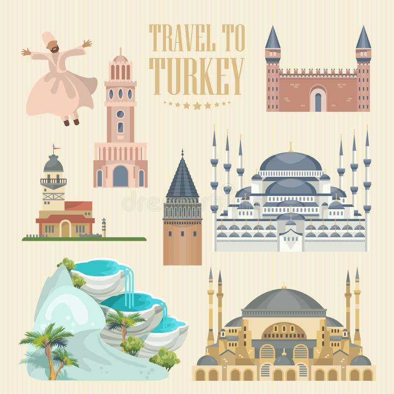 Ejemplo de las vacaciones del vector de Turquía Sistema colorido Estambul stock de ilustración
