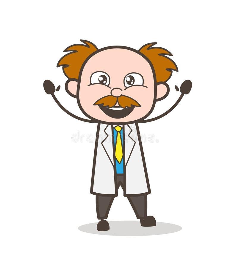 Ejemplo de Laughing Face Vector del científico de la historieta stock de ilustración