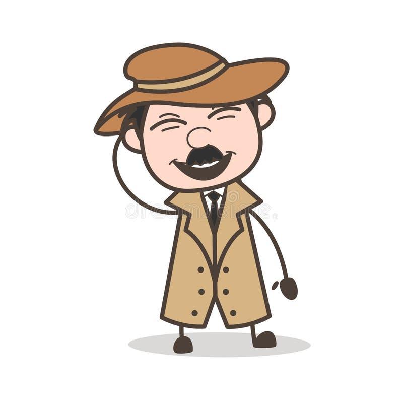 Ejemplo de Laughing Loudly Vector del detective de la historieta ilustración del vector