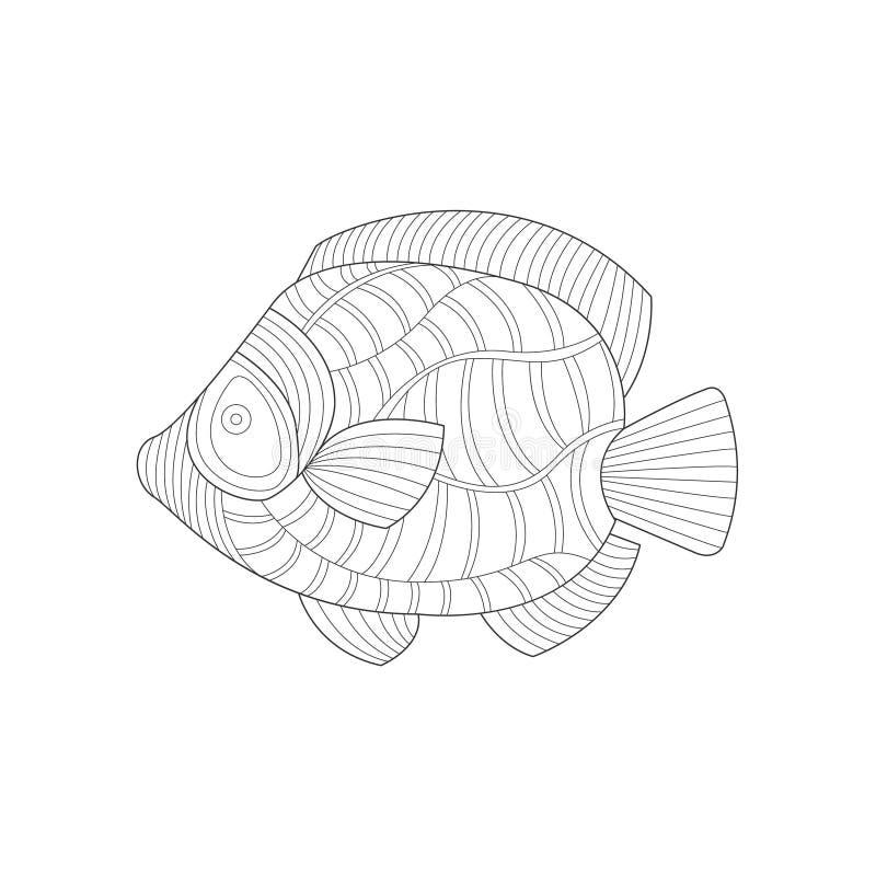 Ejemplo de libro de colorear blanco y negro adulto de Angel Fish Sea Underwater Nature Zentangle libre illustration