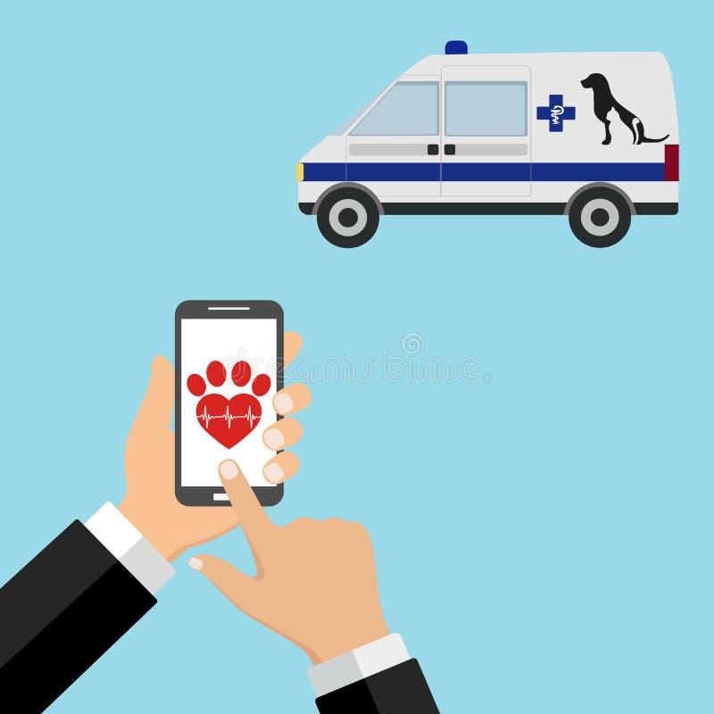 Ejemplo de llamar a un veterinario de la ambulancia en el teléfono en un fondo azul stock de ilustración