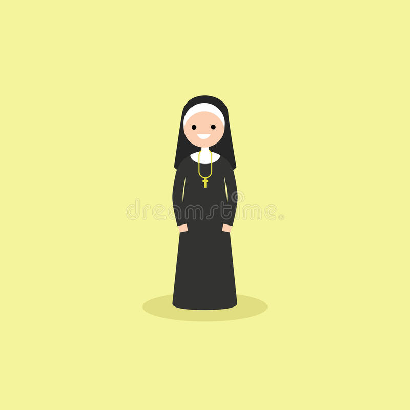 Ejemplo de llevar cristiano católico de la monja blanco y negro libre illustration