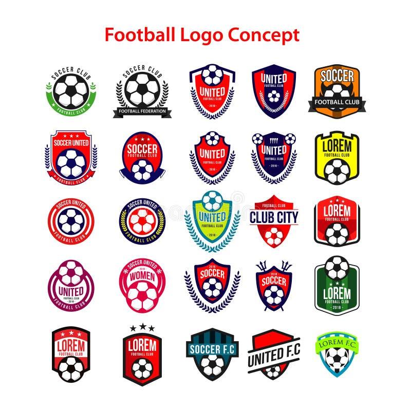 Ejemplo de Logo Concept Vector Template Design del fútbol stock de ilustración