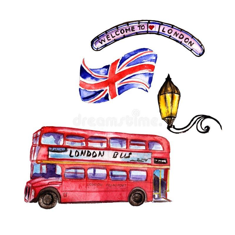 Ejemplo de Londres de la acuarela Símbolos dibujados mano de Gran Bretaña ilustración del vector
