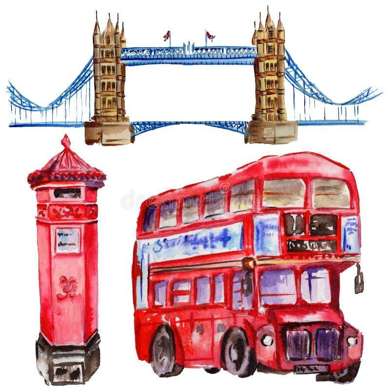 Ejemplo de Londres de la acuarela Símbolos dibujados mano de Gran Bretaña Autobús británico libre illustration