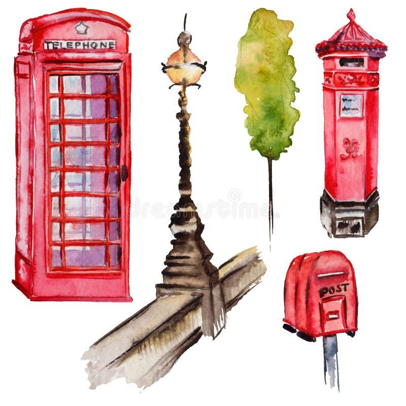 Ejemplo de Londres de la acuarela Símbolos dibujados mano de Gran Bretaña Teléfono británico stock de ilustración