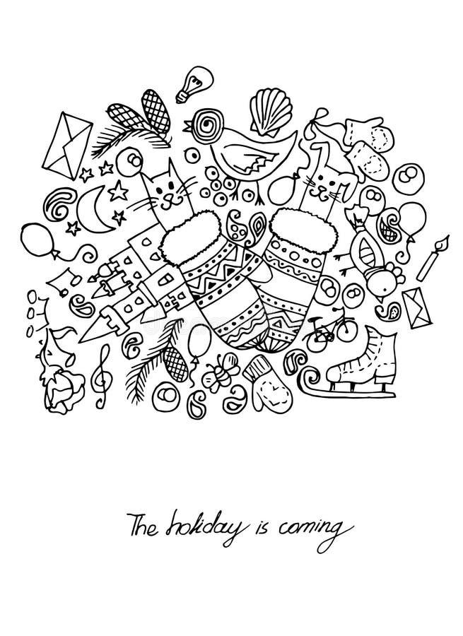 Ejemplo de los artículos de la Navidad El día de fiesta y la diversión Postal blanco y negro libre illustration