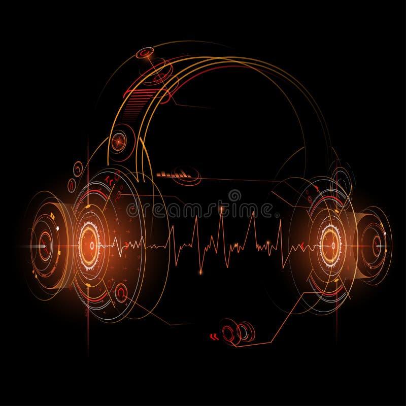 Ejemplo de los auriculares con golpes de la onda acústica stock de ilustración