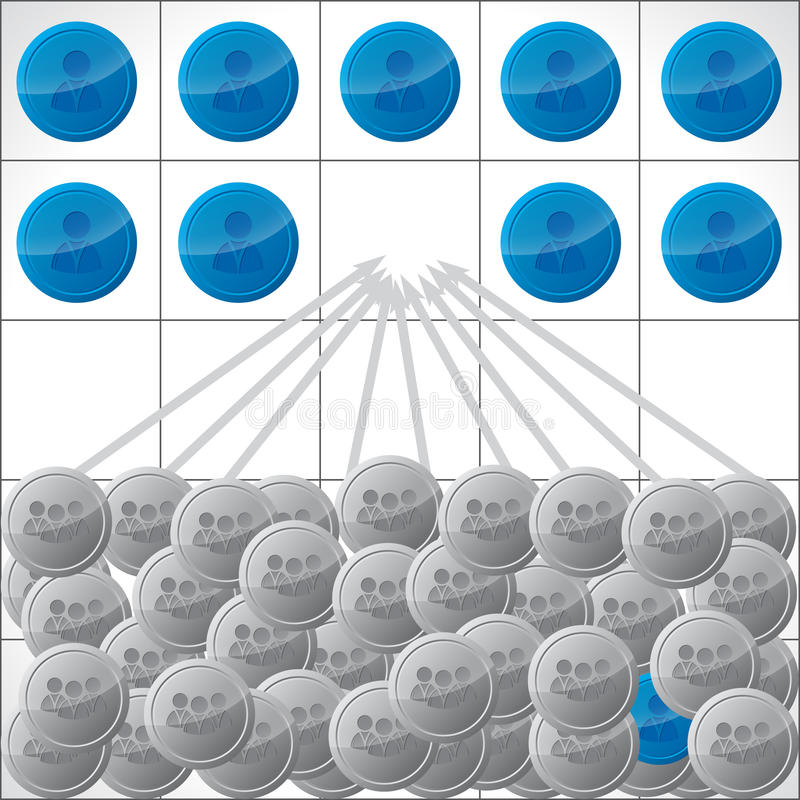 Ejemplo de los candidatos que compiten para el trabajo ilustración del vector