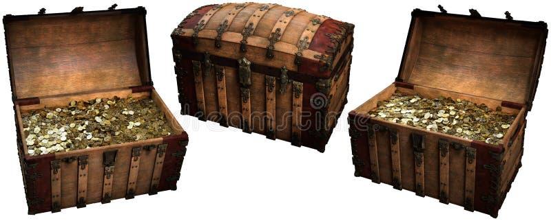 Ejemplo de los cofres del tesoro 3D stock de ilustración