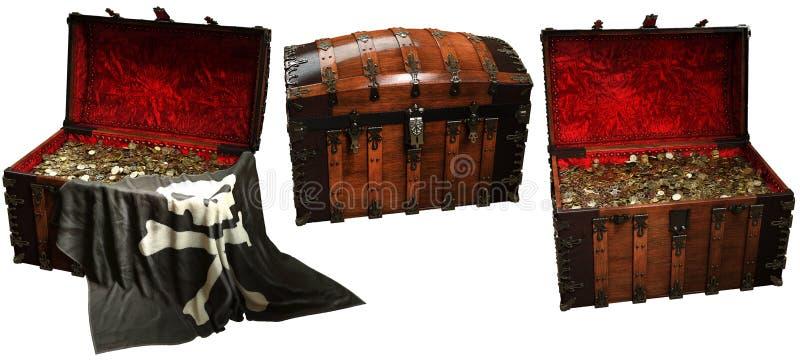 Ejemplo de los cofres del tesoro 3D del pirata ilustración del vector