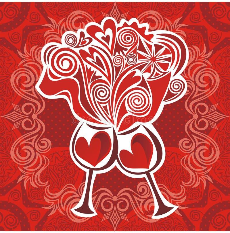 Ejemplo de los corazones del vino del amor de los vidrios stock de ilustración