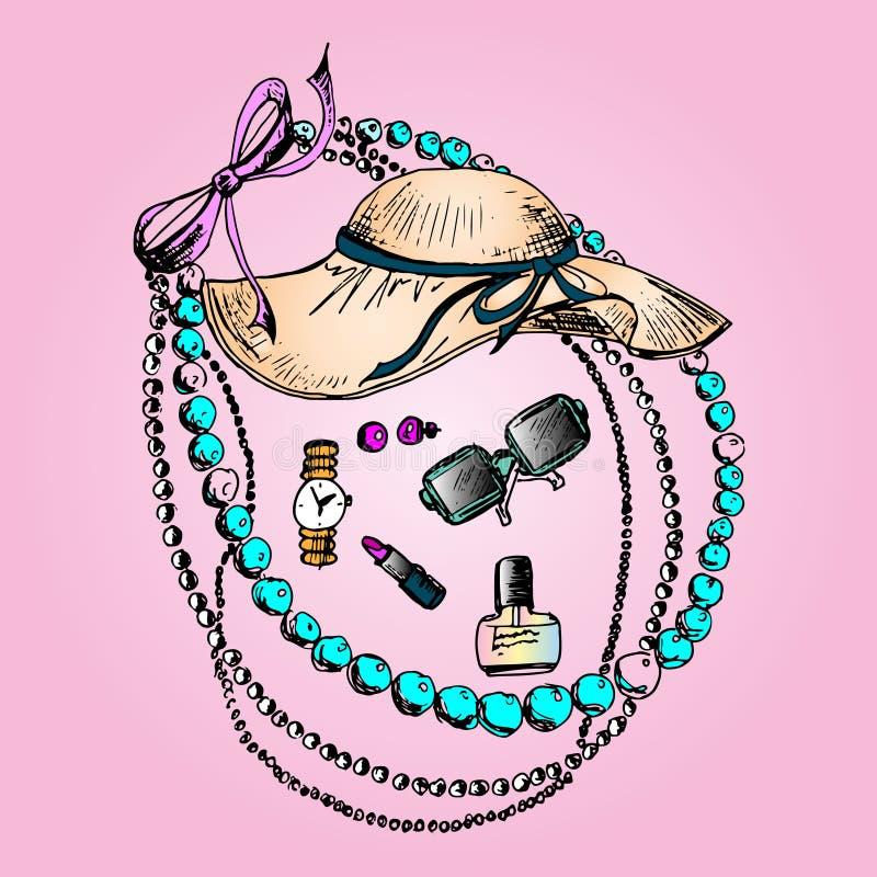 Ejemplo de los cosméticos, todos para la belleza, accesorios stock de ilustración