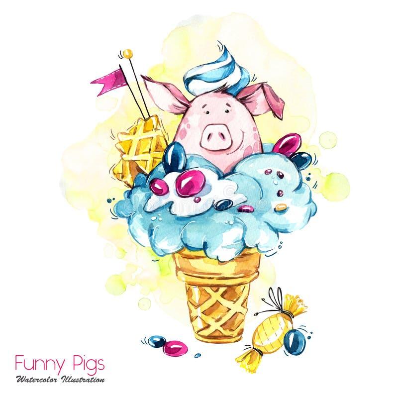 Ejemplo de los días de fiesta del saludo Cerdo de la historieta de la acuarela en cono de helado con los caramelos y la galleta P stock de ilustración