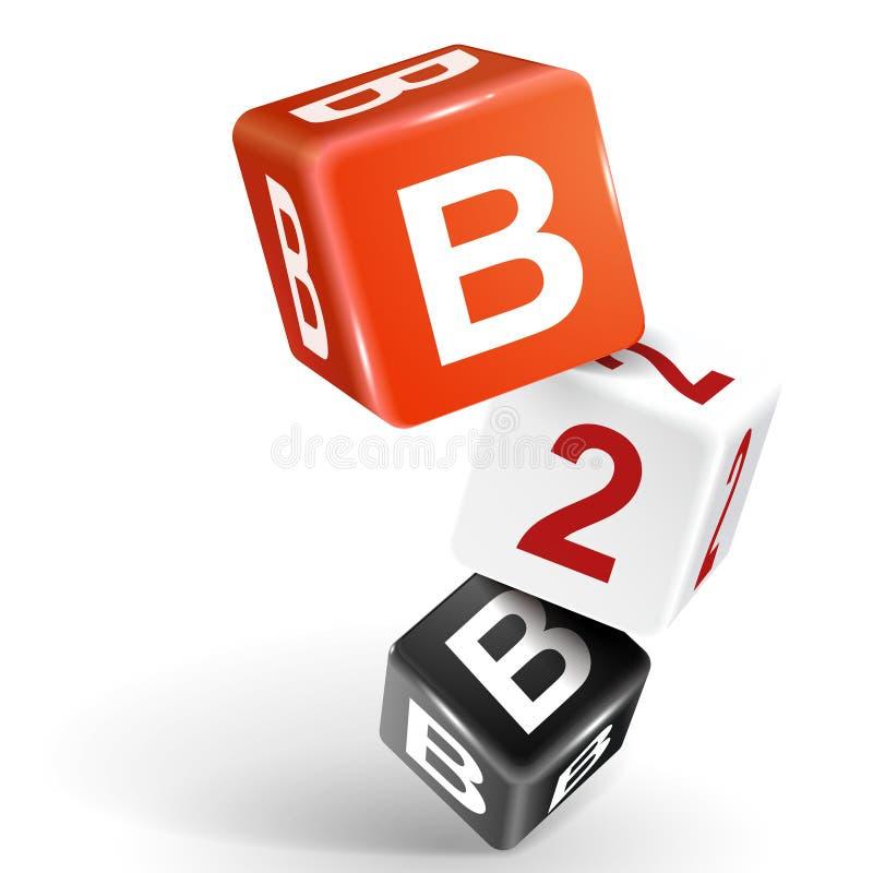 ejemplo de los dados 3d con la palabra B2B ilustración del vector