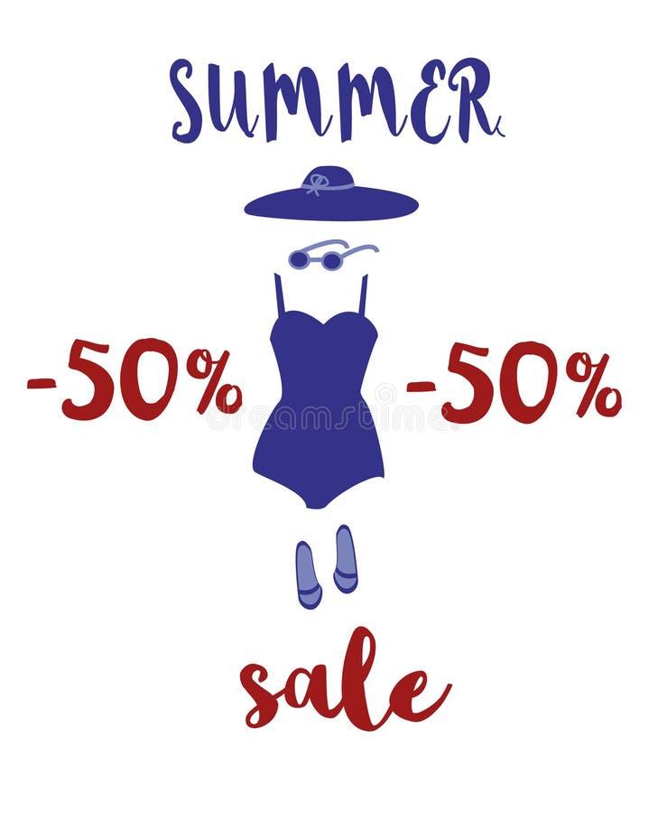 Ejemplo de los descuentos del verano, venta Accesorios de la playa y fuente manuscrita Sombrero, traje de baño, gafas de sol, des ilustración del vector
