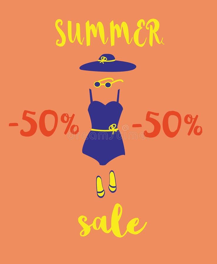 Ejemplo de los descuentos del verano, venta Accesorios de la playa y fuente manuscrita Sombrero, traje de ba?o, gafas de sol, des libre illustration