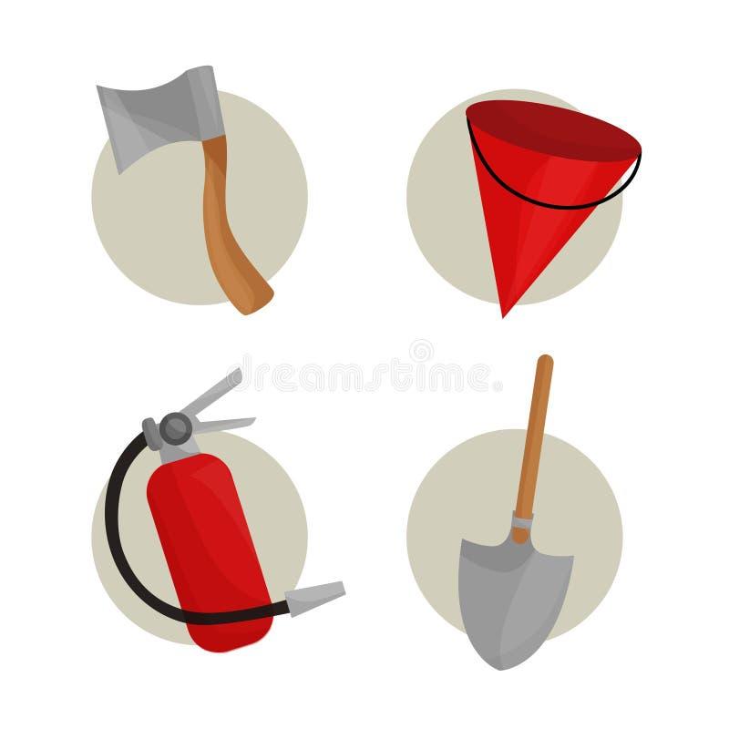 Ejemplo de los elementos del bombero ilustración del vector