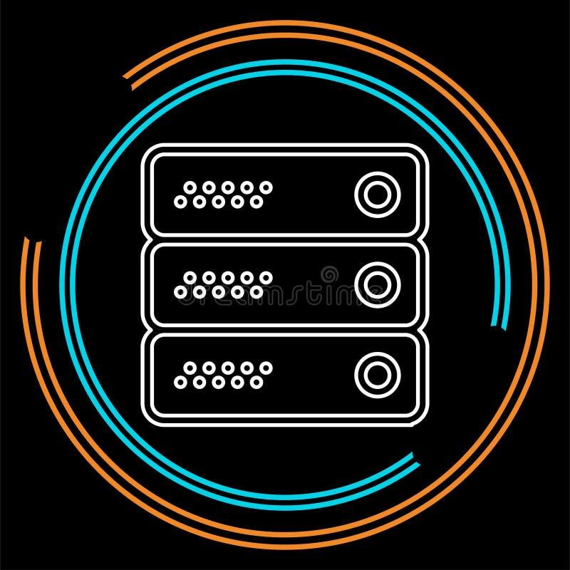 Ejemplo de los estantes de los datos del servidor - memoria interna ilustración del vector