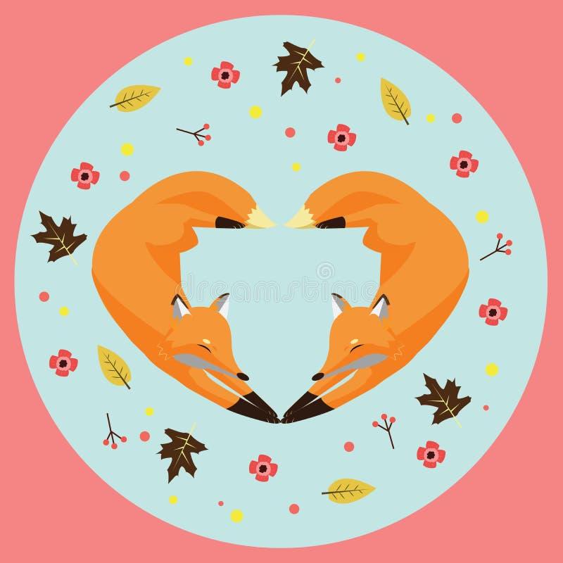 Ejemplo de los foxs formados del corazón imagen de archivo