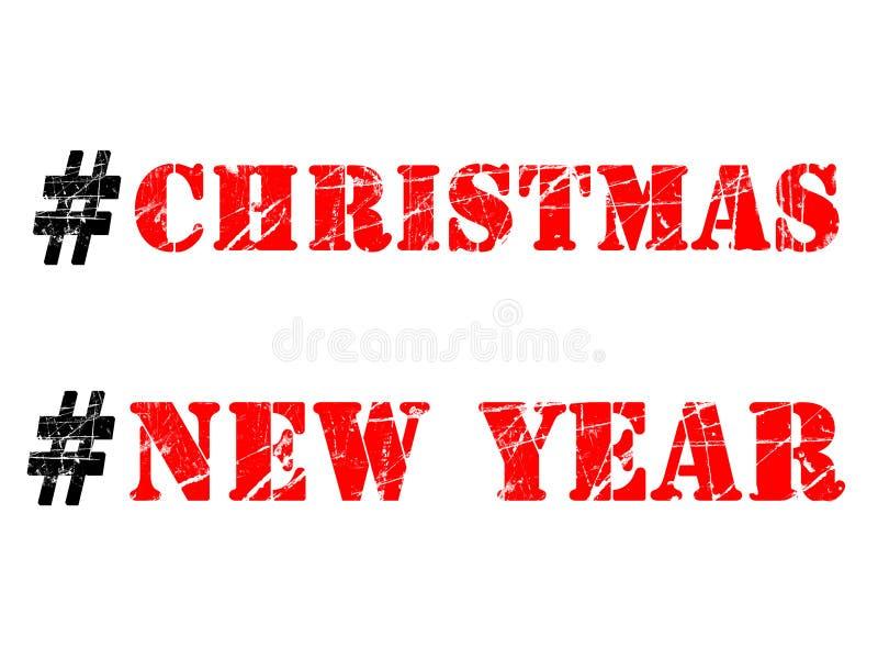 Ejemplo de los hashtags de la Navidad y del Año Nuevo en el fondo blanco stock de ilustración