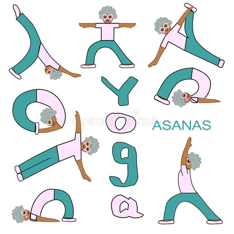 Ejemplo de los iconos de los asanas de la yoga ilustración del vector