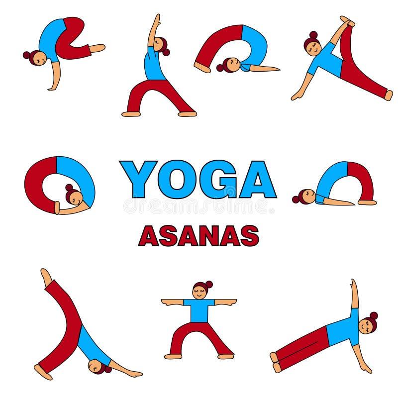 Ejemplo de los iconos de los asanas de la yoga 9 diversas actitudes Figura simple ilustración del vector
