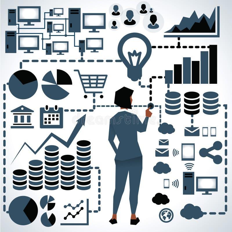 Ejemplo de los iconos de Surrounded By Business de la empresaria stock de ilustración