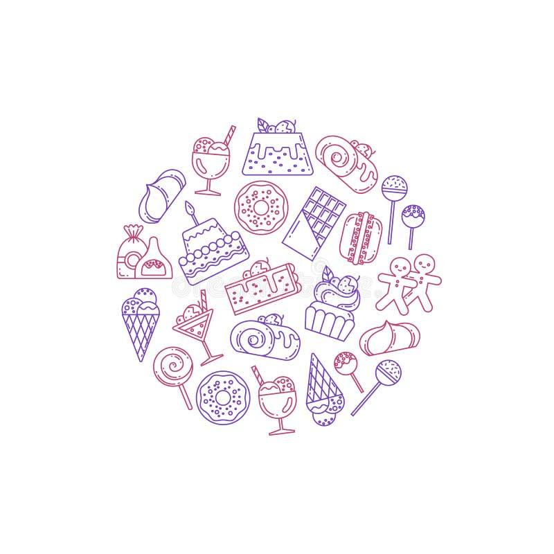 Ejemplo de los iconos de los dulces del vector stock de ilustración
