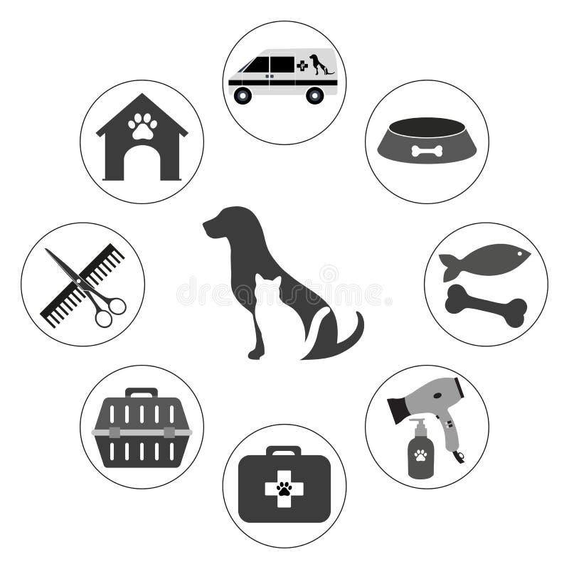 ejemplo de los iconos veterinarios para el servicio y el cuidado del animal doméstico en diseño de la forma del círculo libre illustration