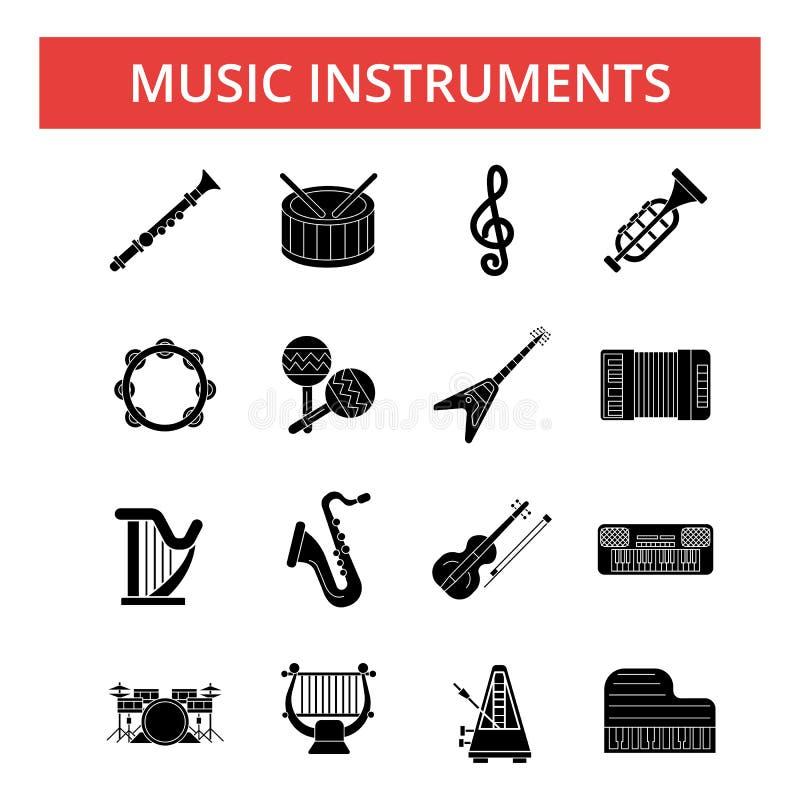 Ejemplo de los instrumentos de música, línea fina iconos, muestras planas lineares stock de ilustración
