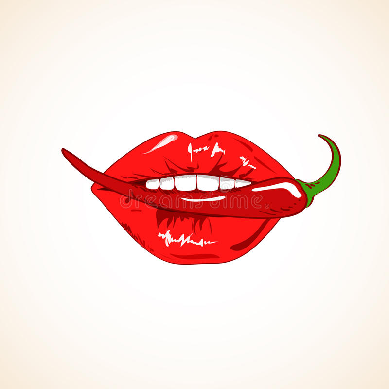 Ejemplo de los labios de la mujer con pimienta de chile stock de ilustración