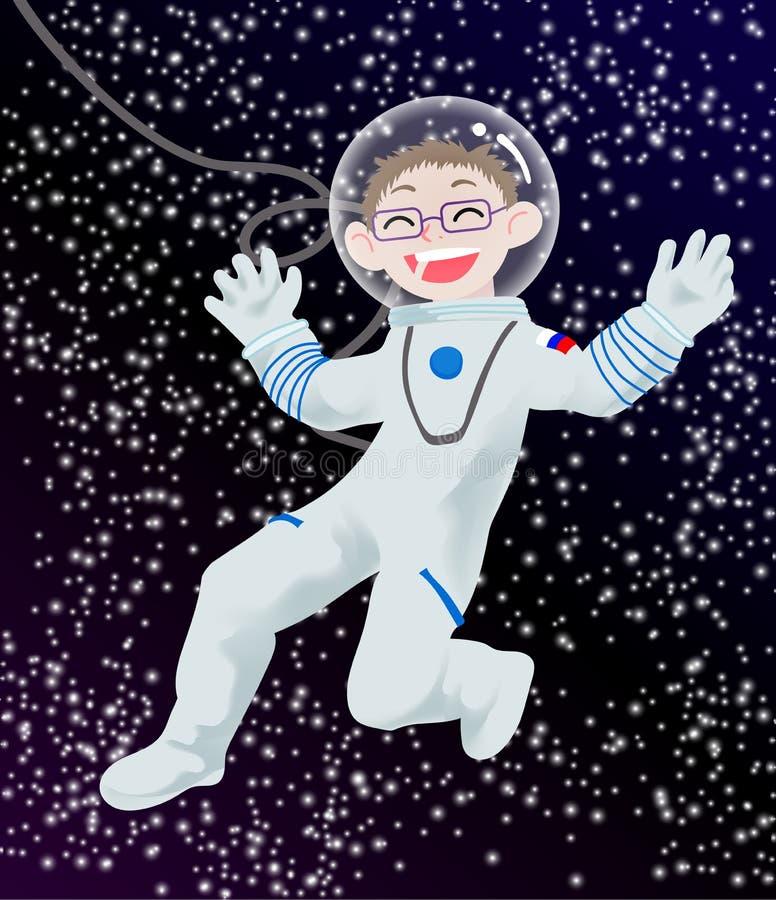 Ejemplo de los niños con un astronauta feliz del niño ilustración del vector