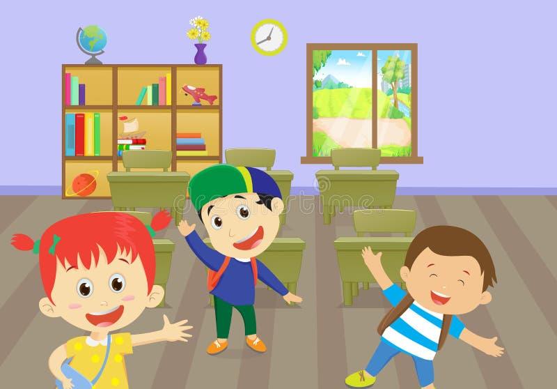 Ejemplo de los niños felices que gozan en sala de clase stock de ilustración