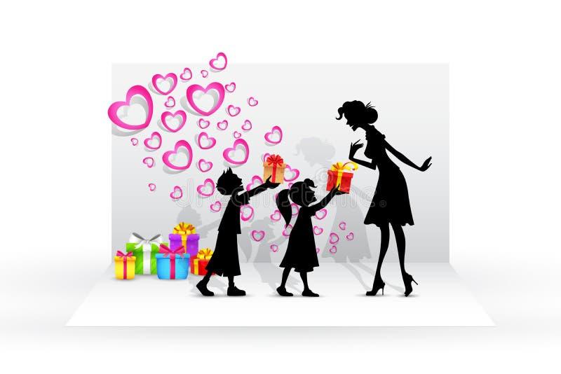 Niños que dan el regalo a la madre stock de ilustración