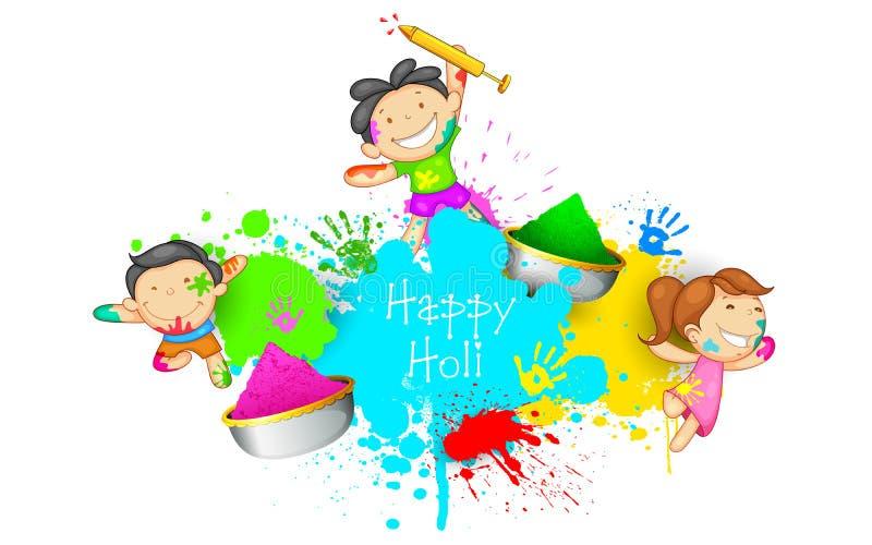 Niños que juegan Holi libre illustration