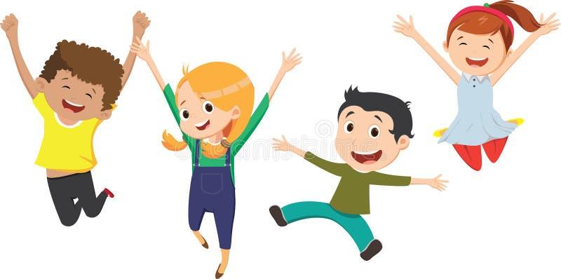 Ejemplo de los niños que se divierten con los sacos en un prado stock de ilustración