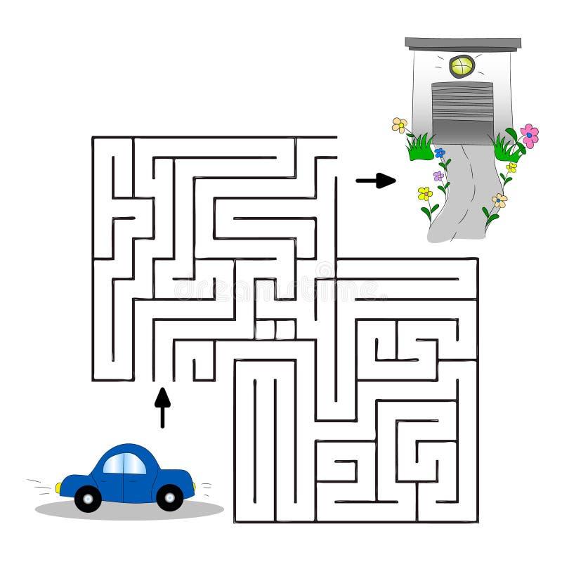 Ejemplo de los niños s con un coche, un garaje y un laberinto Ayude al coche para encontrar su manera al garaje Gráficos de vecto stock de ilustración